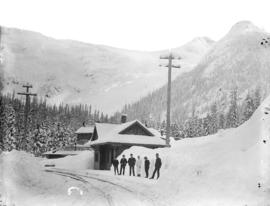 Glacier House and station (winter) C.P.R., Selkirks