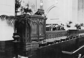 The pulpit [St. Andrew's Wesley United Church], first morning service, May 28, 1933