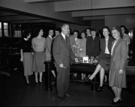 [B.C. Telephone employees in the new B.C. Telephone building]
