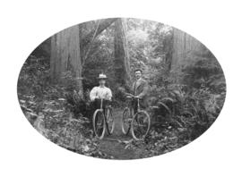 [Mr. H.F. Hill and Mrs. Lillian Hill (nee Hacking) cycling on Deadman's Island]