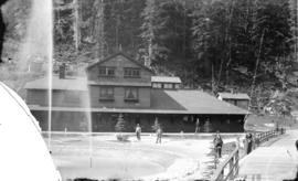 [Railway station and fountain at Glacier, B.C.]