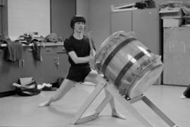 Katari Taiko member at a practice session at Strathcona Community Centre