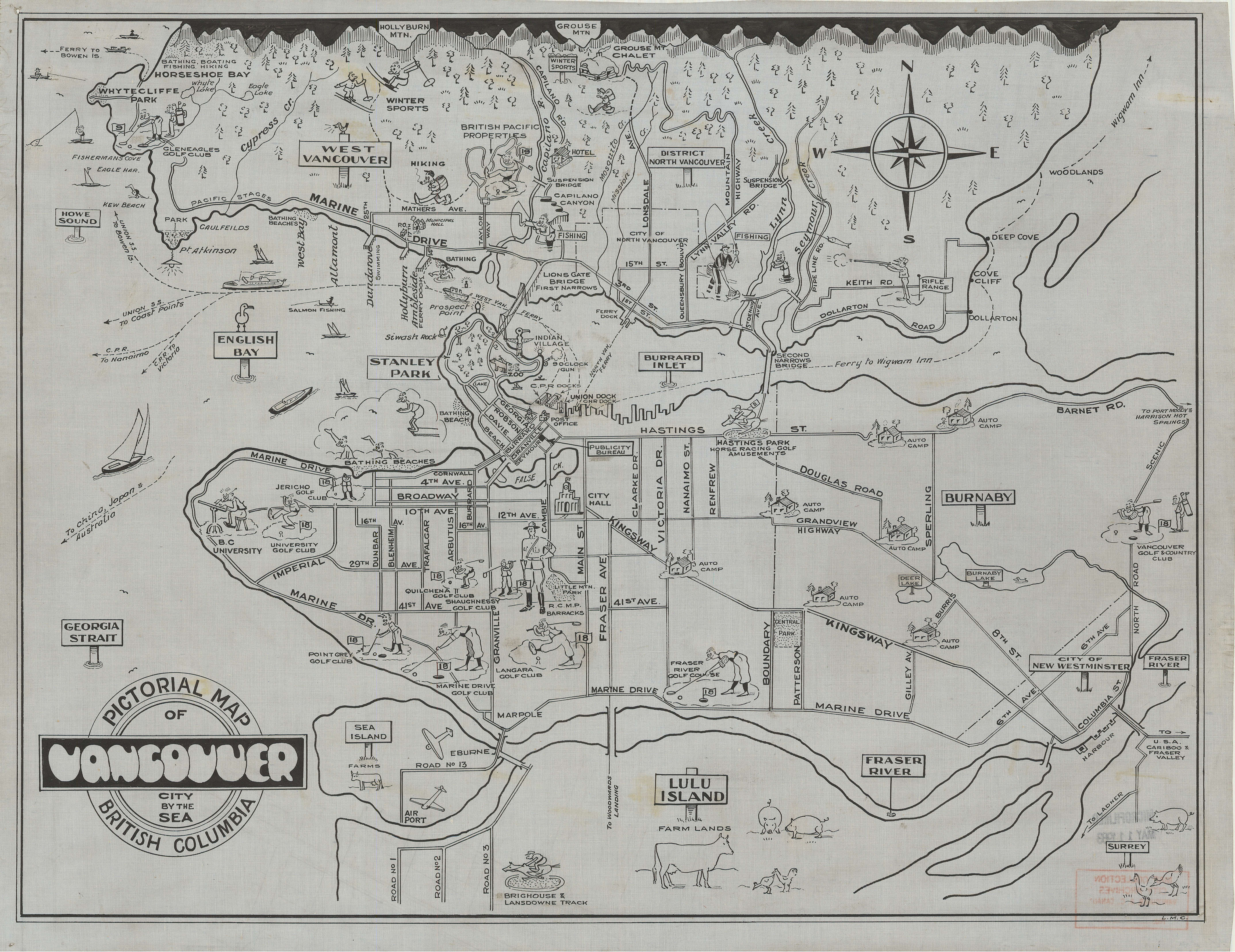 Pictorial map of vancouver british columbia city by the sea city open original digital object malvernweather Choice Image