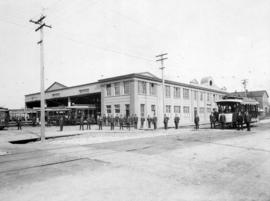 [Exterior of B.C. Electric Railway car barns - Prior Street and Westminster Avenue (Main Street)]