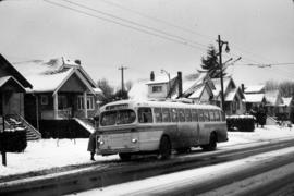 1949 Brill trolleybus #2174 southbound on Dunbar at 21st in snow