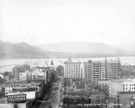 [Looking north along Granville Street from Georgia Street towards North Vancouver]