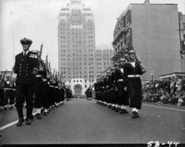 H.M.C.S. Naden sailors marching in 1953 P.N.E. Opening Day Parade