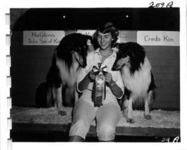 Woman with award-winning Collies in 1956 P.N.E. Dog Show