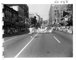 Seattle All-City High School Band in 1956 P.N.E. Opening Day Parade