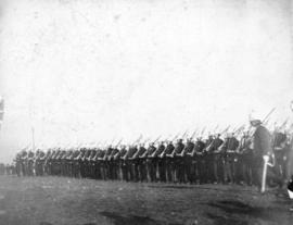 [Inspection of 2nd Battalion, 5th Regiment, Canadian Garrison Artillery on the Cambie Street Grou...