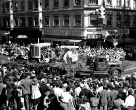 Westminster Ironworks' float of industrial machinery in 1947 P.N.E. Opening Day Parade