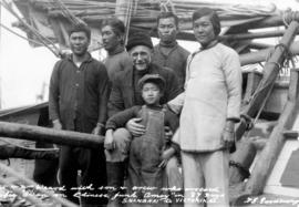 "Capt. and Mrs. Waard with son and crew who crossed Pacific Ocean on Chinese Junk ""Amoy""..."