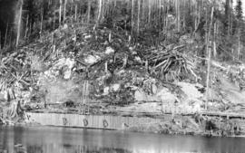 Coquitlam Dam [showing] New Westminster intake site, coffer dam and shaft No. 2