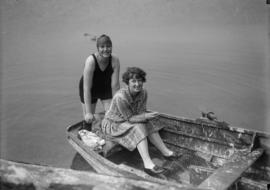 Two people on a rowboat