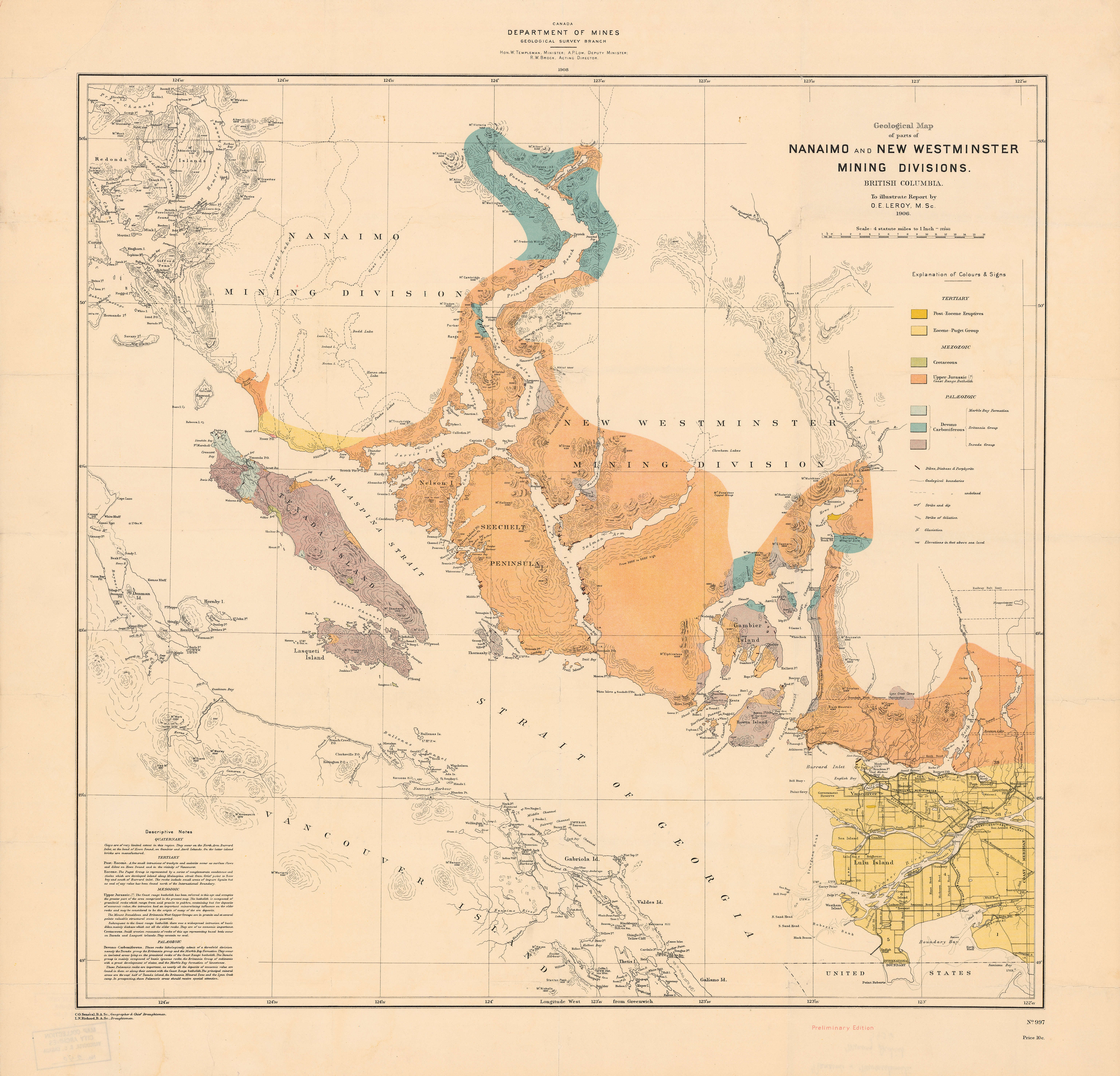 Geological map of parts of Nanaimo and New Westminster mining