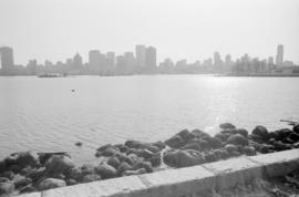 Vancouver skyline, Coal Harbour, and Stanley Park seawall beach