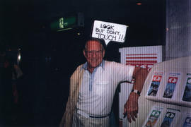 Hugh Pickett with sign