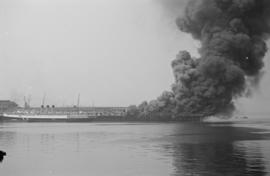 "[View of fire at C.P.R. Pier ""D""]"