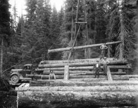 Loading logs on trucks, that run on plank roads, Upper Fraser Mills