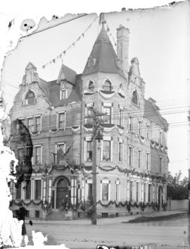 [Bank of Montreal building at northeast corner of Granville and Dunsmuir Streets decorated with b...