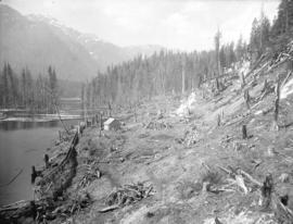 [Partially cleared Coquitlam Dam site, looking up Coquitlam Lake]