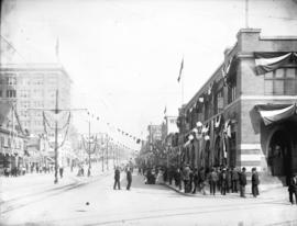 [View of Columbia Street, New Westminster, decorated with banners and flags, looking east from 8t...