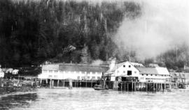 [Board of Trade trip - View of cannery from the water]