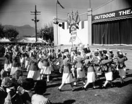 High School Girls' Bugle Band of Cranbrook, B.C. performing by Outdoor Theatre stage