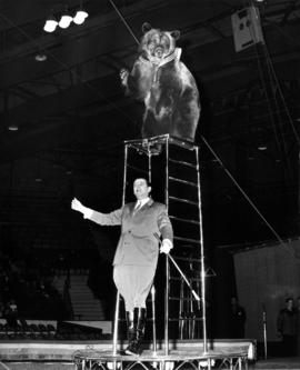 Man with bear in Moscow Circus performance