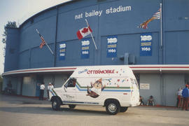 Ottermobile parked outside of Nat Bailey Stadium