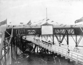 Opening of New Westminster Railway Bridge with train crossing
