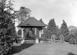 Old Chinese bell and war trophies in Beacon Hill Park in Victoria, B.C.