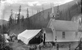 [Roman Catholic Church and surrounding tents, at North Bend, B.C.]