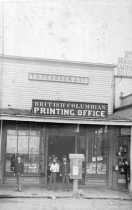 [T.R. Pearson Stationery and the British Columbian newspaper building on Columbia Street]
