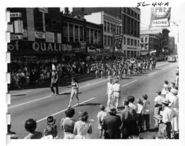 Ferndale High School Golden Eagles marching band in 1956 P.N.E. Opening Day Parade