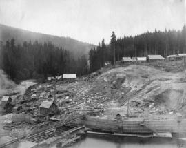 Coquitlam dam [showing] view of camp taken from platform on cedar tree at north side of dam site