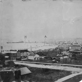 Vancouver, about end of 1886 (after fire), showing Cordova and Hastings Streets, and the City Wharf