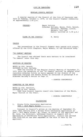 Council Meeting Minutes : Oct. 2, 1979