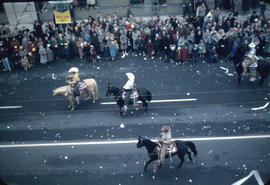 43rd Grey Cup Parade, on Granville Street, cowboys on horseback and spectators