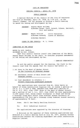 Special Council Meeting Minutes : Apr. 20, 1978