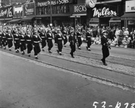 Armed forces marching in 1953 P.N.E. Opening Day Parade