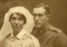 [Portrait of Nursing Sister Johns (No. 5 Canadian General Hospital) and unidentified soldier]