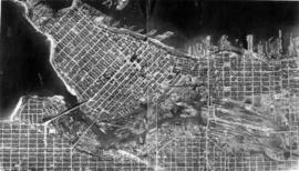 [Aerial survey map of Vancouver, looking north west showing English Bay coast line, False Creek a...