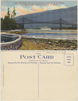 "Lions Gate Bridge over the First Narrows, Vancouver, B.C., Canada [-] ""Empress of Japan&quot..."