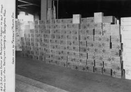 Cases of salmon stacked at Philadelphia train depot