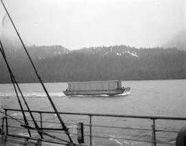 Barge of lumber [from] Pacific Mills [on the] Queen Charlotte Islands