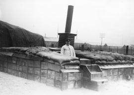 [The troops' store of yeast in a dug-out on the Western Front]