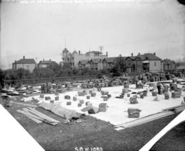 [Tea being spread out to dry in C.P.R. park at Granville and Georgia Streets]