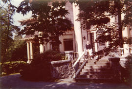 [Irene Maccaud Nelson on the front steps of 3690 Selkirk Street]