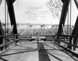 [Looking north from the Fraser Street Bridge showing the open swing span]